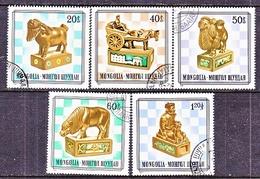 MONGOLIA  1202 +   (o)  WOOD  CHESS  PIECES - Chess