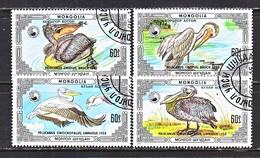 MONGOLIA  1538 A-d   (o)  PELICANS - Pelicans