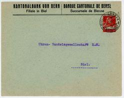 """1918 10 C GSU """"Tellbrustbild"""" Ortsbrief BIEL Der Kantonalbank - Ganzsachen"""