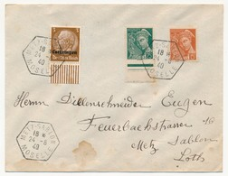 "Cad Hexagonal ""METZ SABLON MOSELLE"" 1940 Sur Enveloppe Affr Mixte Mercure - Hindenburg - Alsace-Lorraine"
