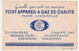 Buvard 21 X 13.6 Tout Appareil à GAZ De Qualité Porte L'estampille ATG - Electricity & Gas