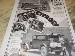 ANCIENNE PUBLICITE 2 VOITURE EN UNE  CITROEN  1930 - Publicités
