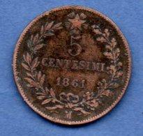 Italie -  1 Centesimi 1861 M   -  Km # 3.2 -  état  TB - 1861-1878 : Victor Emmanuel II