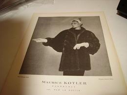 ANCIENNE PUBLICITE FOURRURE KOTLER 1952 - Habits & Linge D'époque
