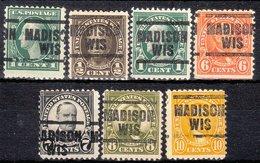 USA Precancel Vorausentwertung Preo, Locals Wisconsin, Madison 203, 7 Diff. Perf. 11x11 - Vorausentwertungen