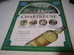 ANCIENNE PUBLICITE GRANDE CHARTREUSE VERTE OU JAUNE  1952 - Alcools