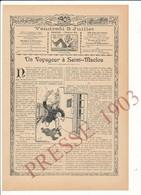 4 Scans Presse 1903 Un Voyageur à Saint-Maclou (? 27 Eure ??) Gare Perdue Chef De Gare Perche Au Château-Rieussec 223CH5 - Oude Documenten