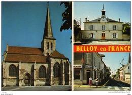 BELLOY-en-FRANCE  L'Eglise. La Mairie. La Librairie-papeterie.  TBE - France