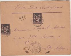 Drôme, ESC VD 200F, 25c Sage X 2 Cad La Motte Chalançon 1895 - 1849-1876: Klassieke Periode