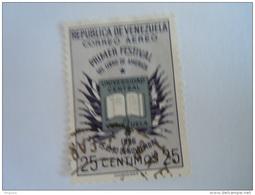 Venezuela 1956-57 Festival Américain Du Livre PA Yv 609 O Aériens Aéreo - Venezuela
