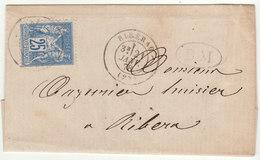 Dordogne LSC 25c Sage O. T17 Ribérac +  BM - Marcophilie (Lettres)