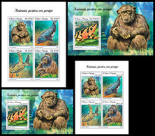 S. TOME & PRINCIPE 2018 - Chimpanzee, Endangered Sp. Complete Set. Official Issue - Chimpanzés
