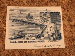 Geneve - Grand Hotel Des Bergues - Briefbogen Beschrieben - Ohne Zuordnung