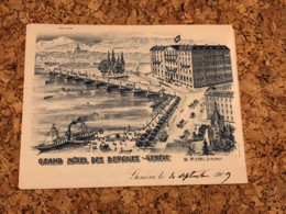 Geneve - Grand Hotel Des Bergues - Briefbogen Beschrieben - Alte Papiere