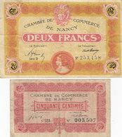 Nancy 2 Billets 50 C Et 2 F 1919 - 1921 - Chamber Of Commerce