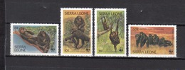 SIERRA LEONE Chimpanzés N° 553 à 556 Neufs** Cote 15€ - Chimpanzés