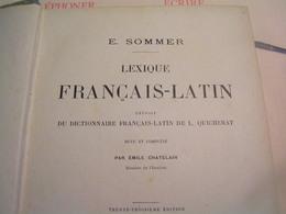 Livres - Dictionnaire  - Lexique Français / Latin Par E. Sommer - Dictionnaires