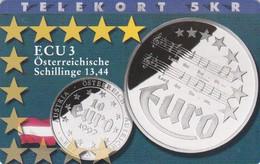 Denmark, P 185, ECU-Austria, Only 700 Issued, Coins, Flag, 2 Scans. - Denmark