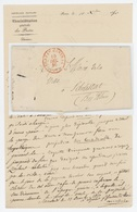 Paris 1850 Cachet Rouge Bureau Centrale Administration Générale Des Postes Pour Sélestat - 1849-1876: Période Classique