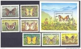 1995. Uzbekistan, Butterflies, 7v + S/s, Mint/** - Uzbekistan