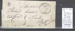 France - Lettre  CAD D'OUDON En Loire Inférieure - Boite Rurale B - IDENTIFIEE DE LE CELLIER - 1854 - Postmark Collection (Covers)