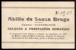 Cartão Publicidade De Loja SAPATEIRO Em CASAIS - ALVARELHOS - TROFA - PORTO. Old Advertising PORTUGAL - Portugal