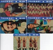 Denmark, S 013 - 017, 5 Mint Cards, Olympic Gold Winners 1996, Sport, 2 Scans - Denmark