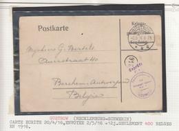 Camp De GUSTRÖW / 20.4.16 Envoyée Le 2.5.16-> Berchem + Censure - Oorlog 14-18