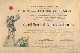CROIX ROUGE FRANCAISE - 1914 - CERTIFICAT ILLUSTRE D'AIDE-AUXILLIAIRE SECOURS AUS BLESSES EN NTEMPS DE GUERRE - Guerre 1914-18
