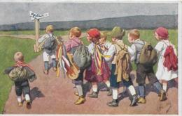 AK 0072  Kinder ( Wandertag ) - Künstlerkarte Von Freitag Um 1926 - Gruppen Von Kindern Und Familien