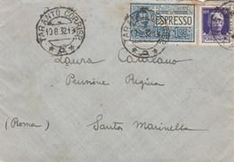 7745.   Busta Espresso Da Taranto Per Pensione Regina Santa Marinella Roma 1921 - 1900-44 Vittorio Emanuele III