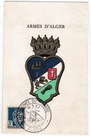 Blason Aux Armes D'Alger - Carte Avec Cachet Journée Du Timbre 1957 - Algérie (1924-1962)