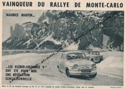 AUTOMOBILE : PHOTO, RALLYE DE MONTE-CARLO, MARTIN-BATEAU, VAINQUEUR SUR PANHARD, COL DU ROUSSET, COUPURE REVUE (1961) - Voitures (Courses)