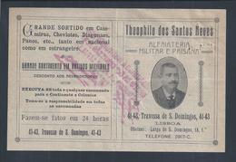 Alfaiataria Militar E Paisana.Fatura Theophilo Neves,Lisboa 1921.Military And Civilian Clothing.Military Uniforms.2scn - Portugal