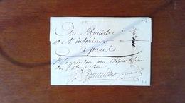 LETTRE AU MINISTRE DE LINTERIEUR - AN 7 REPUBLICAIN - 1799 - CACHET CURSIVE DEUX SEVRES - Marcophilie (Lettres)