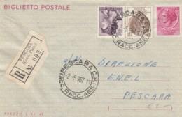 INTERO BIGLIETTO POSTALE RACCOMANDATO 1967 TIMBRO PESCARA (LX113 - 6. 1946-.. Repubblica