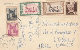 CARTOLINA MAROCCO 1958 AFFRANCATURA MULTIPLA CASABLANCA (LX315 - Marocco (1956-...)