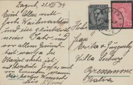 CARTOLINA 1934 CON AFFRANCATURA JUGOSLAVIA (1 NON PERFETTO) (LX316 - 1931-1941 Regno Di Jugoslavia