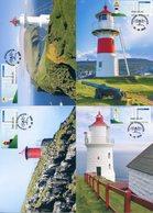 FAROE ISLANDS (2018) - ATM Lighthouse, Faro, Leuchtturm, Phare, Fyr - Maximum Cards Nólsoy, Skansin, Slaettanes, Mykines - Faroe Islands