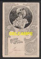 DD / FÊTES - VOEUX / NOUVEL AN / BONNE ANNÉE / DESSIN / JEUNE FEMME PORTANT UN PETIT COCHON / CIRCULÉE EN 1904 - New Year
