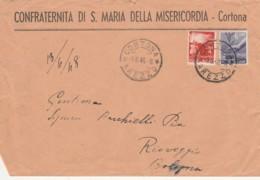 LETTERA 1948 4+6 L. TIMBRO CORTONA AREZZO RIOVEGGIO (LX440 - 1946-60: Storia Postale