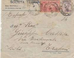 LETTERA 1923 CENT.50 +60 CENT. ESPRESSO TIMBRI TRAPANI AMBULANTE MESSINA PALERMO (LX448 - Storia Postale