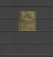 Ajman 1968 Olympic Games Grenoble Gold Stamp Imperf. MNH - Hiver 1968: Grenoble
