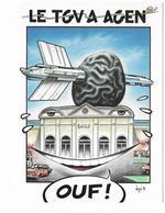 Illustrateur Bernard Veyri Caricature Le TGV à Agen Train - Veyri, Bernard