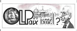 Illustrateur Bernard Veyri Caricature OLP Israel Yasser Arafat Yitzhak Rabin 2 Cp - Veyri, Bernard