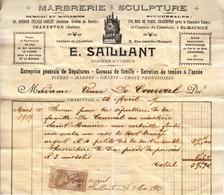 1907 - Facture - Saint-Maurice (Val-de-Marne) - Marbrerie Saillant - FRANCO DE PORT - France