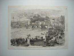 GRAVURE 1869. ANGLETERRE. REGATES ANNUELLES DISPUTEES ENTRE OXFORT ET CAMBRIDGE. - Stiche & Gravuren