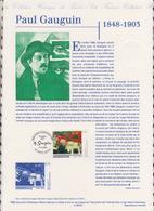 1ER JOUR  FEUILLET DOCUMENT PHILATELIQUE 98 521 PAUL GAUGUIN - Documents Of Postal Services