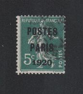 Faux Préoblitéré N° 24 5 C Semeuse Poste Paris 1920 - 1893-1947
