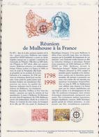 1ER JOUR  FEUILLET DOCUMENT PHILATELIQUE 98 527 REUNION DE MULHOUSE A LA FRANCE - Documents Of Postal Services